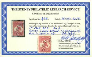 1913 Australia SG2/ACSC No 3B.(E)d Roo 1st Wmk1d Pale Red DieII Extra Island