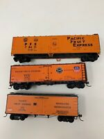 HO Pacific Fruit Express Refrigerator Cars WO/ Boxes Union Lot Of 3 40' 50' D10