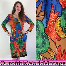 Vtg RAINBOW EMBROIDERED CAFTAN Egypt ethnic robe dress PSYCHEDELIC HIPPIE SARI M