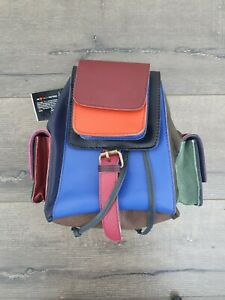 Gringo Fairtrade Small Multi Coloured Recycled Leather Backpack - Marked