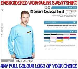 Personalised Heavyweight Work Wear Sweatshirt. ANY EMBROIDERED LOGO FREE!