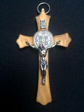 wall crucifix wood metal hang Jesus Christ Saint Benedict Medal Made Italy 3.5''
