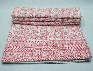 Indian Cotton Hand Block Print Kantha Quilt Bedspread Throw Coverlet Bed Cover