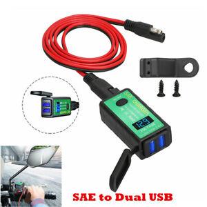 Upgraded Waterproof Motorcycle Dual USB Charger Handlebar/Rearview Mirror Mount