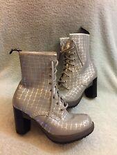 Dr. Martens Women's  Darcie Diva Dancer 8 Eye Heel Boot Silver Croco Uk 5 Us 7