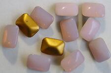 6 Vintage Glass Rhinestone Octagon Pink Opal Dome Foiled Germany 18x13mm J2-4B