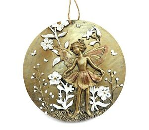 Wall Hanging Bronze Fairy Plaque Hanger Gold Floral Round Decorative Fantasy