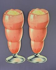 Pair of Original 1950s American Diner Die Cut Strawberry Milk Shake Displays