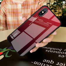 For iPhone 6S 8 7 6 Plus 11 XS MAX XR X Tempered Glass Cover Gradient Phone Case