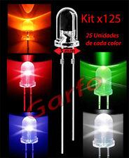 Kit 125x Diodo LED 5X9 mm 2 Pin  naranja rojo azul blanco verde Alta Luminosidad