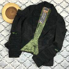L.A.M.B. Gwen Stefani Rare Metallic Smock Blazer Distressed Jacket Size 4