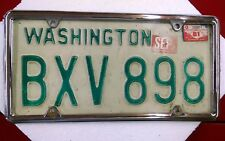 VINTAGE WASHINGTON STATE LICENSE PLATE BXV 898 68-81 BASE SOLID( frame no incl.)