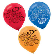 """6 Blaze and the Monster Machines Birthday Party 12"""" Printed Latex Balloons"""