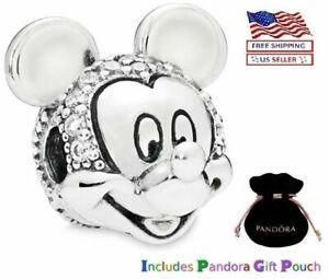 Authentic S925 Silver PANDORA Disney Mickey Mouse Pavé Clip Charm
