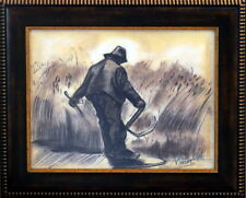 Vincent Van Gogh / GREAT CHARCOAL DRAWING on PAPER SIGNED. W/Frame.