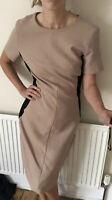 £300 Max Mara Studio Pencil Wiggle Wool dress Brown Black Uk 14 Long Zip