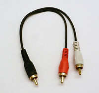 RCA Plug Male to 2 RCA Plug Male Y Splitter Audio Video Adapter Cable Wire Cord