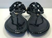 Tory Burch Miller Black Patent leather Flat Classic Sandals Many size
