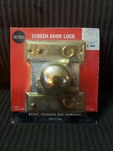 Vintage Screen Door Lock Set #6254 Brass - Sears Roebuck & Co New Old Stock
