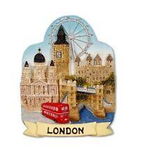 London Scenic FRIDGE MAGNET Recuerdo Regalo Collage escenas de puente de bus rojo Big Ben