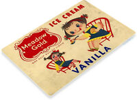 TIN SIGN B450 Meadow Gold Vanilla Ice Cream Rustic Retro Ice Cream Sign Decor