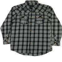 No Fear Men's Long Sleeve Plaid Black And White Button-Up Shirt Size Large EUC