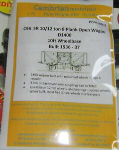 CAMBRIAN C96 KIT 10/12/  SR 8 PLANK OPEN WAGON D1400 NEW OO gauge