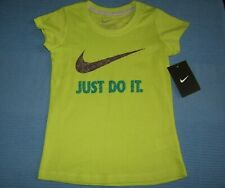 Nike Short SLEEVE COTTON SHIRT GIRLS SIZE 4 Athletic Fit NWT