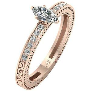 SI2 F 0.70 Ct Marquise Round Cut Diamond Solitaire Engagement Ring 14K Rose Gold
