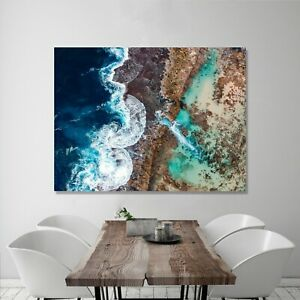 OCEAN ART PRINT ON STRETCHED CANVAS PRINTS FRAMED NATURE BEACH WALL PICTURE