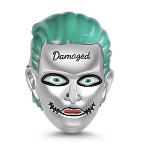 JOKER BATMAN GREEN HAIR DAMAGED CHARM DC GENUINE 925 STERLING SILVER GIFT 💜💛💜