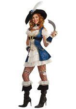 Pirate Lady Sexy Bonnie Blue Pirate Costume 4 Pc Dress Hat & Wrist Cuffs Sm-Med