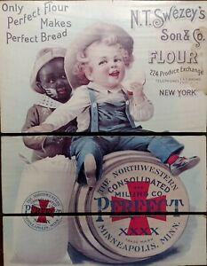 Black Americana Wooden Advertisement N.T. Swezeys Son & Co. Flour