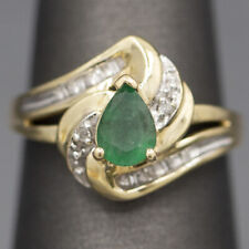 Vintage Pear Cut Emerald and Diamond Twist Cocktail Ring in 10k Yellow Gold