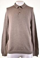 EDDIE BAUER Mens Polo Neck Jumper Sweater Large Grey Cotton GR09