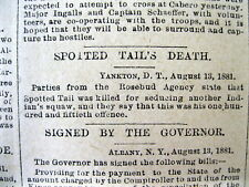 <1881 newspaper SOUIX CHIEF SPOTTED TAIL SHOT Killed by CROW DOG for Adultery
