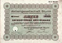 Aktiengesellschaft Sturm Freiwaldau (Niederschlesien) 1932 600 RM