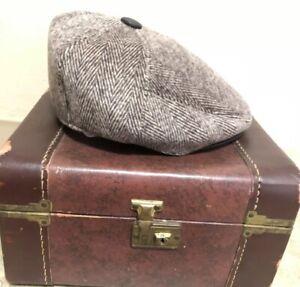 Vintage Sz7 3/8 Brown Foamy Newsboy Pageboy Golf Cap Hat W Faux Leather Brim