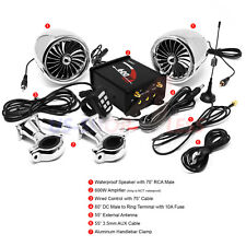 600W AMP Bluetooth Motorcycle Stereo Speaker Audio Music MP3 System AUX FM Radio