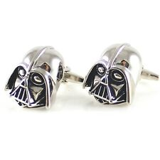 Black Silver Darth Vader Mask Helmet Dark Lord Sith Star Wars Men's Cufflinks