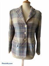 MULBERRY Ladies Wool Tweed Jacket/Blazer UK size 12 Cream/Blue/Mulberry Check