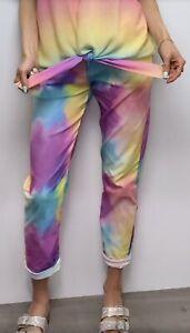 Magic Pants Magic Trousers Rainbow Stretchy Pants Tie Dyed Cropped Pants Capri