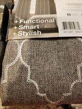 LOT 2 - Dynasty Embroidered Blackout GROMMET Panel Drape - 50x95 Gray White