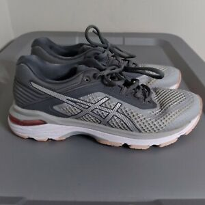 Asics GT-2000 6 Women's Size 7 Running Shoes Gray/White/Peach Athletic Sneakers