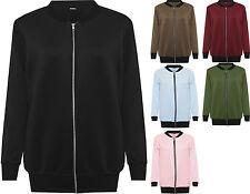 Womens Plus Size Plain Bomber Jacket Ladies Long Sleeve Zip Up Elasticated Top