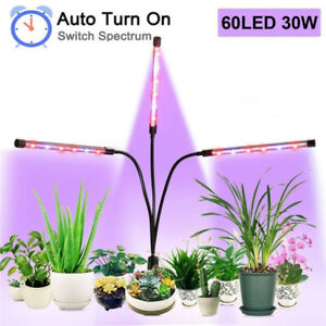 30W 60led Grow Light 3-head Greenhouse Lamp Timer for Indoor Plants Hydroponics