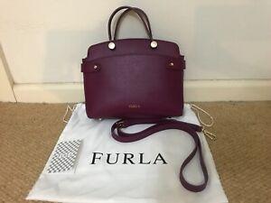 Furla Agata Crimson Small Saffiano Leather Tote Bag
