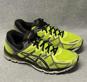 Asics Gel-Kayano 21 Fluorescent Yellow Gray Black Fluid Fit Running Shoes SZ 12