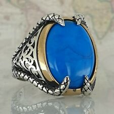 Claw Solid 925 Sterling Silver Turquoise Gemstone Men Ring HandMade Turkish