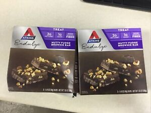 2 Box (10 total bars) Atkins Endulge Nutty Fudge Brownie Bar Treat